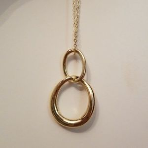 Long Interlocked Gold Chain Necklace